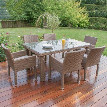 Maze Rattan - Monaco Deep Seating 6 Seat Rectangular Dining Set
