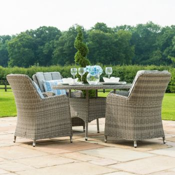 Maze Rattan - Oxford 4 Seat Round Dining Set with Venice Chairs
