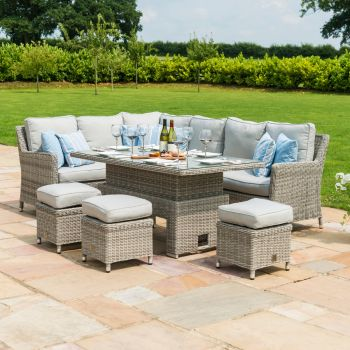 Maze Rattan - Oxford Corner Dining Set with Rising Table and Ice Bucket