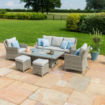 Maze Rattan - Oxford Sofa Dining Set with Rising Table and Ice Bucket